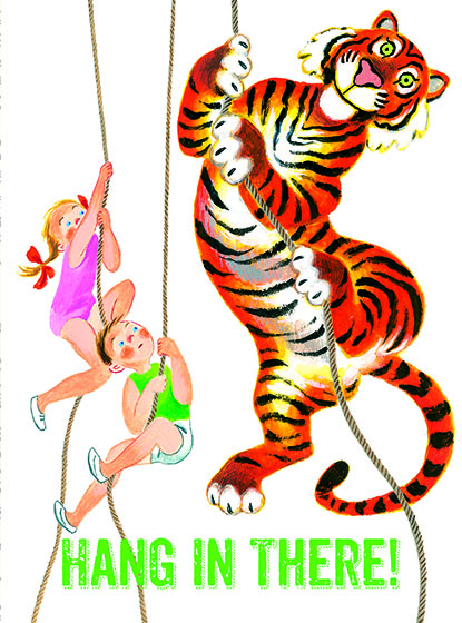 "Children & Tiger Climbing Ropes This illustration by Tibor Gergely comes from a Little Golden Book entitled, ""Animal Gym"", 1956.  OUTSIDE GREETING:Hang in there!  BLANK INSIDE  We have long admired the Little Golden Books, and we feel that their tender, lighthearted images and sweet sentiments pair perfectly together as greeting cards.  In partnership with Random House Children's Books, publisher of Little Golden Books and Diane Muldrow's {Everything I Need to Know I Learned from a Little Golden Book}, we've designed this line of greeting cards to convey our heartfelt good wishes to our loved ones, be they children or young-at-heart adults, on the occasion of a birthday or anniversary, or simply to write, ""I'm thinking of you.""  Our cards honor the Little Golden Books tradition by reproducing their iconic gold band on the back of each card, and we include a gold envelope to further ""golden"" the message you send.  All of our cards are made in Seattle, Washington, USA."