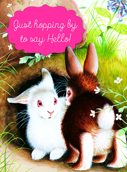 "Bunnies Meeting This illustration by Garth Williams comes from a Little Golden Book entitled, ""Home for a Bunny"", 1956.  OUTSIDE GREETING:Just hopping by to say Hello!  BLANK INSIDE  We have long admired the Little Golden Books, and we feel that their tender, lighthearted images and sweet sentiments pair perfectly together as greeting cards.  In partnership with Random House Children's Books, publisher of Little Golden Books and Diane Muldrow's {Everything I Need to Know I Learned from a Little Golden Book}, we've designed this line of greeting cards to convey our heartfelt good wishes to our loved ones, be they children or young-at-heart adults, on the occasion of a birthday or anniversary, or simply to write, ""I'm thinking of you.""  Our cards honor the Little Golden Books tradition by reproducing their iconic gold band on the back of each card, and we include a gold envelope to further ""golden"" the message you send.  All of our cards are made in Seattle, Washington, USA."