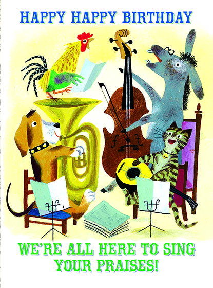 "Birthday Music Quartet This illustration by J.P.MIller comes from a Little Golden Book entitled, ""The Musicians of Bremen"", 1954.  OUTSIDE GREETING:Happy Happy Birthday. We're all here to sing your praises!  BLANK INSIDE  We have long admired the Little Golden Books, and we feel that their tender, lighthearted images and sweet sentiments pair perfectly together as greeting cards.  In partnership with Random House Children's Books, publisher of Little Golden Books and Diane Muldrow's {Everything I Need to Know I Learned from a Little Golden Book}, we've designed this line of greeting cards to convey our heartfelt good wishes to our loved ones, be they children or young-at-heart adults, on the occasion of a birthday or anniversary, or simply to write, ""I'm thinking of you.""  Our cards honor the Little Golden Books tradition by reproducing their iconic gold band on the back of each card, and we include a gold envelope to further ""golden"" the message you send.  All of our cards are made in Seattle, Washington, USA."