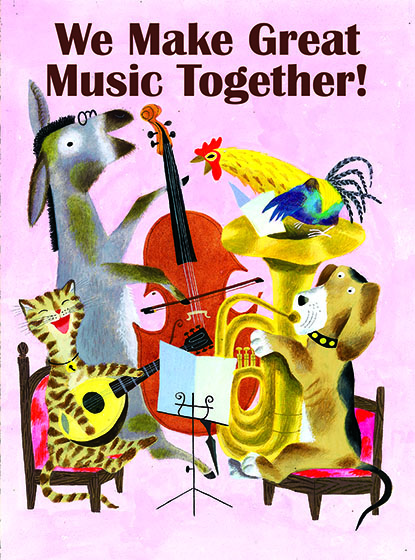"""Animal Friends Quartet This illustration by J.P. MIller comes from a Little Golden Book entitled, """"The Musicians of Bremen"""", 1954.  OUTSIDE GREETING:We Make Great Music Together!  BLANK INSIDE  We have long admired the Little Golden Books, and we feel that their tender, lighthearted images and sweet sentiments pair perfectly together as greeting cards.  In partnership with Random House Children's Books, publisher of Little Golden Books and Diane Muldrow's {Everything I Need to Know I Learned from a Little Golden Book} , we've designed this line of greeting cards to convey our heartfelt good wishes to our loved ones, be they children or young-at-heart adults, on the occasion of a birthday or anniversary, or simply to write, """"I'm thinking of you.""""  Our cards honor the Little Golden Books tradition by reproducing their iconic gold band on the back of each card, and we include a gold envelope to further """"golden"""" the message you send.  All of our cards are made in Seattle, Washington, USA."""