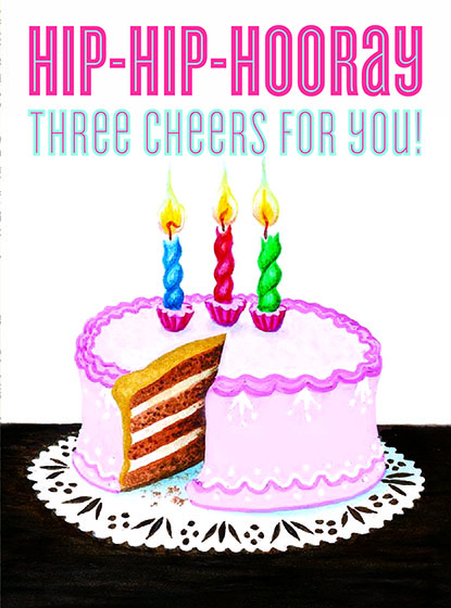 """Cake with Three Candles This illustration by Garth Williams comes from a Little Golden Book entitled, """"Baby's First Book"""", 1954.  OUTSIDE GREETING:Hip-Hip-Hooray, Three Cheers for You!  INSIDE GREETING:Happy Birthday!  We have long admired the Little Golden Books, and we feel that their tender, lighthearted images and sweet sentiments pair perfectly together as greeting cards.  In partnership with Random House Children's Books, publisher of Little Golden Books and Diane Muldrow's {Everything I Need to Know I Learned from a Little Golden Book}, we've designed this line of greeting cards to convey our heartfelt good wishes to our loved ones, be they children or young-at-heart adults, on the occasion of a birthday or anniversary, or simply to write, """"I'm thinking of you.""""  Our cards honor the Little Golden Books tradition by reproducing their iconic gold band on the back of each card, and we include a gold envelope to further """"golden"""" the message you send.  All of our cards are made in Seattle, Washington, USA."""
