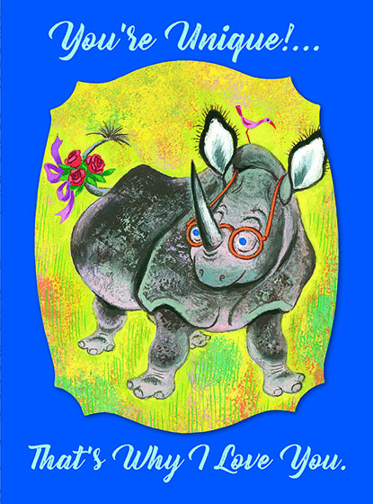 """Rhino with Glasses This illustration by Tibor Gergely comes from a Little Golden Book entitled, 'Ribert the Rhinocerous"""", 1960.  OUTSIDE GREETING:You're Unique!...That's why I Love You.  INSIDE GREETING:Happy Anniversary  We have long admired the Little Golden Books, and we feel that their tender, lighthearted images and sweet sentiments pair perfectly together as greeting cards.  In partnership with Random House Children's Books, publisher of Little Golden Books and Diane Muldrow's {Everything I Need to Know I Learned from a Little Golden Book}, we've designed this line of greeting cards to convey our heartfelt good wishes to our loved ones, be they children or young-at-heart adults, on the occasion of a birthday or anniversary, or simply to write, """"I'm thinking of you.""""  Our cards honor the Little Golden Books tradition by reproducing their iconic gold band on the back of each card, and we include a gold envelope to further """"golden"""" the message you send.  All of our cards are made in Seattle, Washington, USA."""
