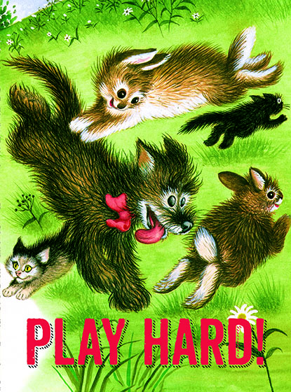 """Animals Playing on Grass This illustration by Garth Williams comes from a Little Golden Book entitled, """"Mister Dog"""", 1953.  OUTSIDE GREETING:Play Hard!  INSIDE GREETING:Happy Birthday!  We have long admired the Little Golden Books, and we feel that their tender, lighthearted images and sweet sentiments pair perfectly together as greeting cards.  In partnership with Random House Children's Books, publisher of Little Golden Books and Diane Muldrow's {Everything I Need to Know I Learned from a Little Golden Book}, we've designed this line of greeting cards to convey our heartfelt good wishes to our loved ones, be they children or young-at-heart adults, on the occasion of a birthday or anniversary, or simply to write, """"I'm thinking of you.""""  Our cards honor the Little Golden Books tradition by reproducing their iconic gold band on the back of each card, and we include a gold envelope to further """"golden"""" the message you send.  All of our cards are made in Seattle, Washington, USA."""