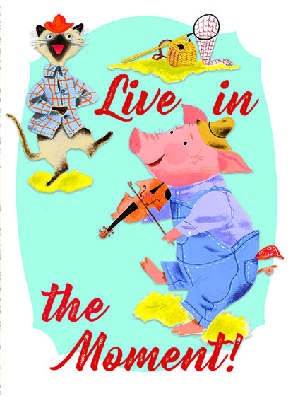 "Pig with a Violin This illustration by J.P. MIller comes from a Little Golden Book entitled, ""The Little Red Hen"", 1954.  OUTSIDE GREETING:Live in the Moment!  BLANK INSIDE  We have long admired the Little Golden Books, and we feel that their tender, lighthearted images and sweet sentiments pair perfectly together as greeting cards.  In partnership with Random House Children's Books, publisher of Little Golden Books and Diane Muldrow's {Everything I Need to Know I Learned from a Little Golden Book}, we've designed this line of greeting cards to convey our heartfelt good wishes to our loved ones, be they children or young-at-heart adults, on the occasion of a birthday or anniversary, or simply to write, ""I'm thinking of you.""  Our cards honor the Little Golden Books tradition by reproducing their iconic gold band on the back of each card, and we include a gold envelope to further ""golden"" the message you send.  All of our cards are made in Seattle, Washington, USA."