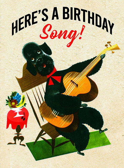 "Poodle with a Guitar This illustration by Leonard Weisgard comes from a Little Golden Book entitled, ""Pantaloon"", 1951.  OUTSIDE GREETING:Here's a Birthday Song!  INSIDE GREETING:You deserve a serenade!  We have long admired the Little Golden Books, and we feel that their tender, lighthearted images and sweet sentiments pair perfectly together as greeting cards.  In partnership with Random House Children's Books, publisher of Little Golden Books and Diane Muldrow's {Everything I Need to Know I Learned from a Little Golden Book}, we've designed this line of greeting cards to convey our heartfelt good wishes to our loved ones, be they children or young-at-heart adults, on the occasion of a birthday or anniversary, or simply to write, ""I'm thinking of you.""  Our cards honor the Little Golden Books tradition by reproducing their iconic gold band on the back of each card, and we include a gold envelope to further ""golden"" the message you send.  All of our cards are made in Seattle, Washington, USA."