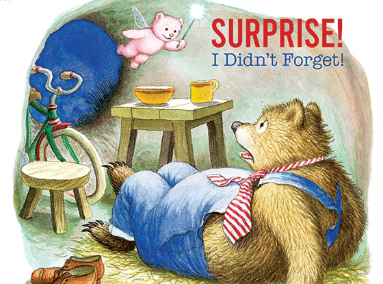 "Shocked Bear This illustration by Garth Williams comes from a Little Golden Book entitled, ""The Giant Golden Book of Elves and Fairies"", 1954.  OUTSIDE GREETING:Surprise! I Didn't Forget!   INSIDE GREETING:Wishing you a Happy Birthday!  We have long admired the Little Golden Books, and we feel that their tender, lighthearted images and sweet sentiments pair perfectly together as greeting cards.  In partnership with Random House Children's Books, publisher of Little Golden Books and Diane Muldrow's {Everything I Need to Know I Learned from a Little Golden Book}, we've designed this line of greeting cards to convey our heartfelt good wishes to our loved ones, be they children or young-at-heart adults, on the occasion of a birthday or anniversary, or simply to write, ""I'm thinking of you.""  Our cards honor the Little Golden Books tradition by reproducing their iconic gold band on the back of each card, and we include a gold envelope to further ""golden"" the message you send.  All of our cards are made in Seattle, Washington, USA."