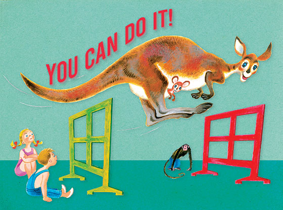 """Kangaroo Jumping Hurdles This illustration by Tibor Gergely comes from a Little Golden Book entitled, """"Animal Gym"""", 1956.  OUTSIDE GREETING:You can do it!  BLANK INSIDE  We have long admired the Little Golden Books, and we feel that their tender, lighthearted images and sweet sentiments pair perfectly together as greeting cards.  In partnership with Random House Children's Books, publisher of Little Golden Books and Diane Muldrow's {Everything I Need to Know I Learned from a Little Golden Book}, we've designed this line of greeting cards to convey our heartfelt good wishes to our loved ones, be they children or young-at-heart adults, on the occasion of a birthday or anniversary, or simply to write, """"I'm thinking of you.""""  Our cards honor the Little Golden Books tradition by reproducing their iconic gold band on the back of each card, and we include a gold envelope to further """"golden"""" the message you send.  All of our cards are made in Seattle, Washington, USA."""