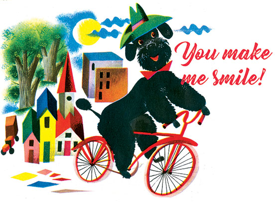 "Poodle on a Bicycle This illustration by Leonard Weisgard comes from a Little Golden Book entitled, ""Pantaloon"", 1951.  OUTSIDE GREETING:You make me Smile!  BLANK INSIDE  We have long admired the Little Golden Books, and we feel that their tender, lighthearted images and sweet sentiments pair perfectly together as greeting cards.  In partnership with Random House Children's Books, publisher of Little Golden Books and Diane Muldrow's {Everything I Need to Know I Learned from a Little Golden Book}, we've designed this line of greeting cards to convey our heartfelt good wishes to our loved ones, be they children or young-at-heart adults, on the occasion of a birthday or anniversary, or simply to write, ""I'm thinking of you.""  Our cards honor the Little Golden Books tradition by reproducing their iconic gold band on the back of each card, and we include a gold envelope to further ""golden"" the message you send.  All of our cards are made in Seattle, Washington, USA."