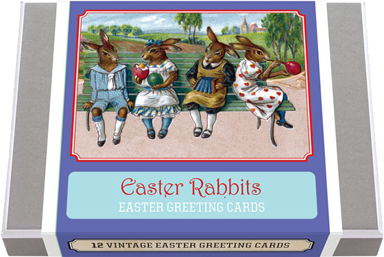 Easter Rabbit Greeting Card Box 12 Entertaining Easter Rabbit Greeting Cards, featuring art from late 19th century and early 20th century postcards. 2 each of 6 designs with 12 envelopes. A great selection to use in your Easter celebration.  Made in America with high quality paper, envelopes and packaged in a deluxe, keepsake box. All cards are blank inside.
