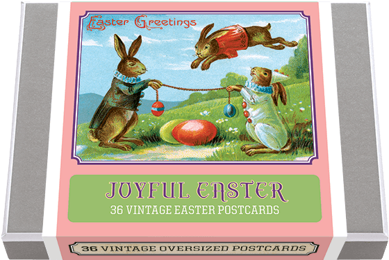 Joyful Easter Postcard Box - 36 Unique Vintage Postcards 36 vintage images of Easter Rabbits. Easter Rabbits engaged in a myriad of activities, either at their job of dying and distributing eggs or at other work or play, were popular subjects for postcards in the late 19th and early 20th century. We have a large collection of these antique postcards and have selected for this collection 36 unique images and added a vintage postcard back with dividing line and stamp box. Made in America with high quality paper and packaged in a deluxe, keepsake box.