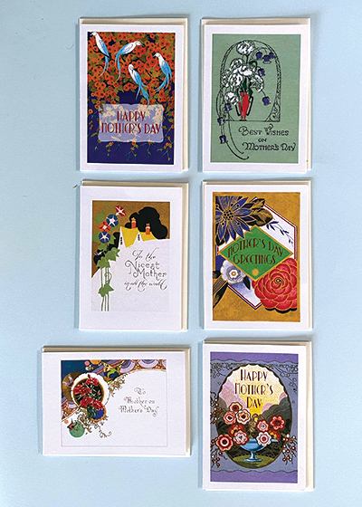 """Art Deco Mother's Day Card Bundle Honor the mothers you love with a stylish Art Deco Mother's Day card. Bundle includes six (6) 5"""" x 7""""cards and envelopes. nArt Deco Birds and Flowers OUTSIDE GREETING: Happy Mother's Day INSIDE GREETING: All my love and best wishes Vase of Purple and White Flowers OUTSIDE GREETING: Best Wishes on Mother's Day; INSIDE BLANK Deco House and Flowers OUTSIDE GREETING: To the Nicest Mother in the World INSIDE BLANK Art Deco Perfume Label OUTSIDE GREETING: Mother's Day Greetings INSIDE BLANK Butterflies and Red Flowers OUTSIDE GREETING: To Mother on Mother's Day INSIDE BLANK Oval Perfume Label; OUTSIDE GREETING: Happy Mother's Day INSIDE BLANK"""