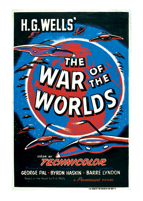 "The War of the Worlds Poster Paramount Pictures had originally envisioned The War of the Worlds as a silent-era project for Cecil B. DeMille. In the original H.G. Wells novel, the story was set in Victorian England and the proposed DeMille version would have followed suit. But by the time the studio got around to actually making the movie, Orson Welles' 1938 radio adaptation of the story had become legendary in part because Welles set the tale in modern times. Special effects master George Pal saw the writing on the wall and gave this 1953 Technicolor extravaganza the same treatment with similar successful results. This 40"" X 60"", rarely seen at auction, is one of the few styles to actually feature the Martian warships in the art. A tough find from one of the most important science fiction films of all time. BLANK INSIDE  Our blank notecards are custom printed at our location in Seattle, WA. They come bagged with an envelope. We love illustration art from old children's books and early, printed ephemera. These cards reflect this interest in bringing delightful art back to life."
