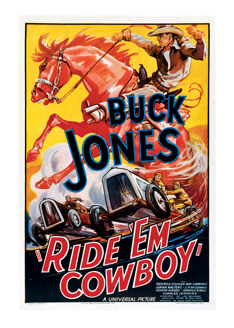 Ride 'Em Cowboy Poster Buck Jones turns the cowboy genre on its ear in this fast paced action film, in which he proves that he's as adept behind the wheel of a racing car as he is in the saddle. As Jess Burns, Jones meets Chuck Morse (George Cooper) a sometime auto mechanic who needs a driver for the Big Race. Buck agrees, and finds time to win the race, the girl, and his freedom by the end of the picture.A great poster for cowboy and car enthusiasts alike.  These prints are made at our location in Seattle, WA. They have a thick, white backing board and are sealed in clear bags. Each is suitable for framing at 11 inches x 14 inches or can be used as is for wall display. Our goal is to bring back to life these wonderful illustrations from old-fashioned, children's books and from early advertising art.