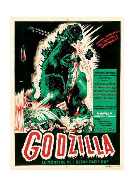 Godzilla Poster A French poster for the famous Japanese monster film.  These prints are made at our location in Seattle, WA. They have a thick, white backing board and are sealed in clear bags. Each is suitable for framing at 11 inches x 14 inches or can be used as is for wall display. Our goal is to bring back to life these wonderful illustrations from old-fashioned, children's books and from early advertising art.