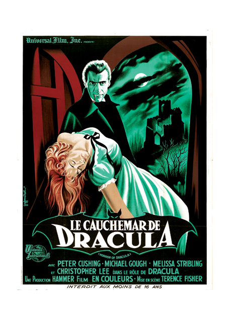 Horror of Dracula Poster A French poster for the Univeral Film Company's horror film. The stark style and lurid colors convey the film's weird and terrifying ambiance. BLANK INSIDE  Our blank notecards are custom printed at our location in Seattle, WA. They come bagged with an envelope. We love illustration art from old children's books and early, printed ephemera. These cards reflect this interest in bringing delightful art back to life.