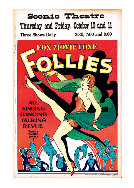 """Fox Movietone Follies of 1929 A poster made for the Fox Movietone Theaters for a combined show of a movie (presumably the """"All Talking"""" refers to the movie, since """"The Jazz Singer had been out for two years) and a vaudeville-type live enterainment roster. Charming graphics and very much of its era.  These prints are made at our location in Seattle, WA. They have a thick, white backing board and are sealed in clear bags. Each is suitable for framing at 11 inches x 14 inches or can be used as is for wall display. Our goal is to bring back to life these wonderful illustrations from old-fashioned, children's books and from early advertising art."""