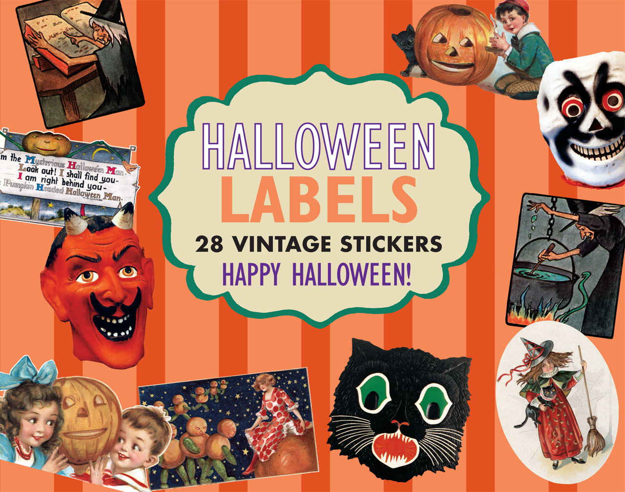 Halloween Sticker Box This box of 28 die-cut stickers, suitable for gifts, invitations, decorations, scrapbooking and general spooky crafting, includes black cats, jack-o-lanterns, witches, parties, costumes, apple bobbing, trick-or-treating, and more. Our sources are as varied as our subjectschildren's books, magazine illustrations and covers, calendar art, scraps, decorations, posters, etc.
