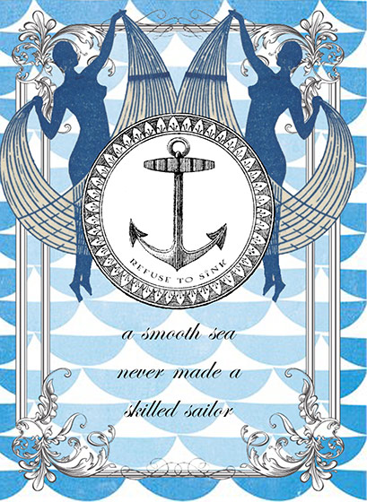 Skilled Sailor - Greeting Cards | Encouragement Greeting Cards Greeting: A smooth sea never made a skilled sailor (blank inside)