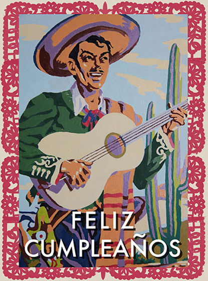 Feliz Cumpleanos  OUTSIDE GREETING: Feliz Cumpleanos   BLANK INSIDE  Our greeting cards are custom printed at our location in Seattle, WA. They come bagged with an envelope. We love illustration art from old children's books and early, printed ephemera. These cards reflect this interest in bringing delightful art back to life.