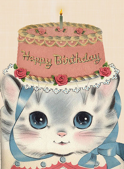 Birthday Hat Kitty  OUTSIDE GREETING: Happy Birthday   BLANK INSIDE  Our greeting cards are custom printed at our location in Seattle, WA. They come bagged with an envelope. We love illustration art from old children's books and early, printed ephemera. These cards reflect this interest in bringing delightful art back to life.