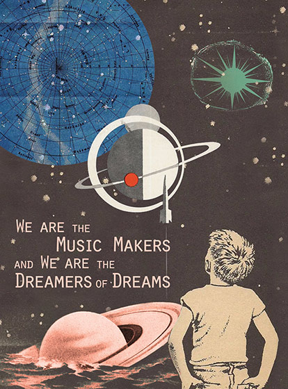 We Are The Music Makers  OUTSIDE GREETING: We are the Music Makers and We Are the Dreamers of Dreams   BLANK INSIDE  Our greeting cards are custom printed at our location in Seattle, WA. They come bagged with an envelope. We love illustration art from old children's books and early, printed ephemera. These cards reflect this interest in bringing delightful art back to life.