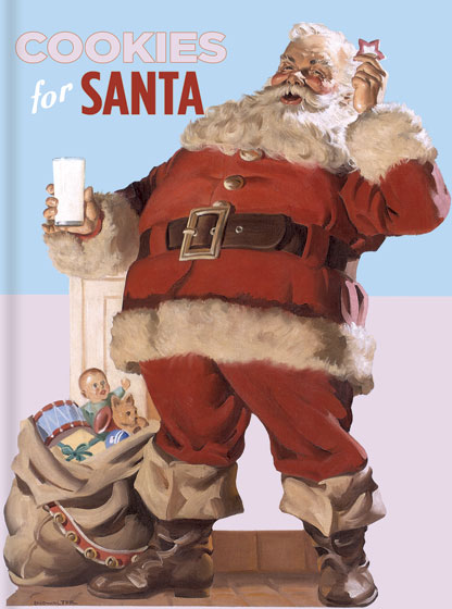 Cookies For Santa: 64 Recipes Sure To Please Santa on Christmas Eve 64 Recipes Sure To Please Santa on Christmas Eve. Santa's favorite cookie recipes, illustrated with images from vintage cooking pamphlets.  Santa, as you might imagine, is an easygoing guy, jolly, and eager to like and to be liked.  He takes no pleasure in making up the list of naughty boys and girls.  But there is one thing Santa Claus does not care for and that is when people put out store-bought cookies for him on Christmas Eve.  This is not to say that Santa does not enjoy the occasional Oreo, Thin Mint or Nutter Butter, but rather that when he has taken the time to come right to one's house to deliver one's gifts in person he would like to know that we have made an effort on his behalf as well.   {Cookies For Santa} does not purport to contain Santa's very favorite cookie recipes, but we will say that we know a lot about Santa, having read numerous biographies, and having seen most of the biopics about him.  Thus we feel that we understand his tastes pretty well and we have selected recipes based on our understanding of him and what we think he would like.
