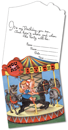 Birthday Invitations: Carousel Die-Cut (Pack of 15 Cards with Envelopes) | Birthday Greeting Cards A proper birthday party requires a proper birthday party invitation, and our packets of 15 invitations fill this need delightfully. A die-cut carousel, reproduced from a vintage birthday card, evokes fun and is appropriate for a range of ages. Includes space for the host to fill in pertinent information.