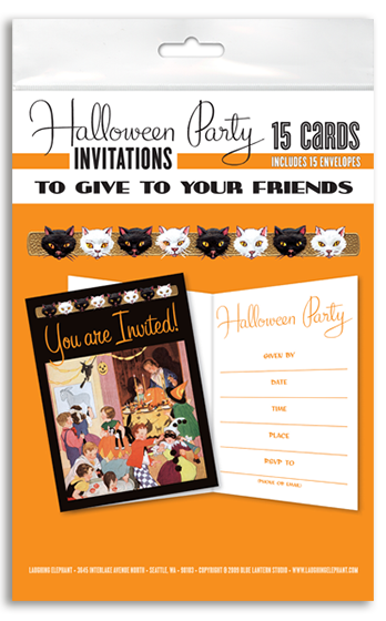 Halloween Party Invitations (Pack of 15 Cards with Envelopes) | Classic Halloween Greeting Cards Halloween parties are an opportunity to show off innovative costumes, elaborate decorations and whimsical food and beverages, and the wise host or hostess will want to honor this outpouring of creativity with a beautiful invitation.  While email is convenient, a proper party invitation summons your guests with a dash of ceremony along with the relevant information.  Our party invitations packet features a charming illustration from the 1930's and is suitable for children or adults.
