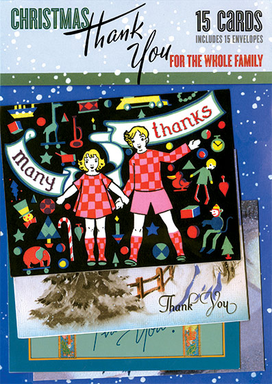 Christmas Thank You For The Whole Family Notecard Packet (15 Assorted Greeting Cards With Envelopes) | Packaged and Boxed Christmas Greeting Cards Sending a thank you in written form for gifts received is a good habit for all ages.  Our family assortment of fifteen different thank you cards will make fulfilling this obligation easy.  The images - from our collection of vintage Christmas cards - range from elegant to whimsical and many are suitable for the youngest etiquette enthusiast.