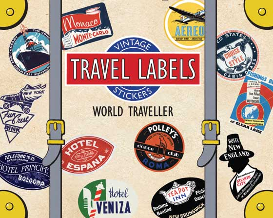 "World Traveller Travel Labels | Travel Stickers ""This box of 20 individual peel and stick luggage labels are suitable for scrapbooking, decoupage, gift wrapping and, of course the adornment of old trunks and luggage. This gathering is inspired by classic luggage label designs of hotels, airlines, and steamship lines from all over the world."""