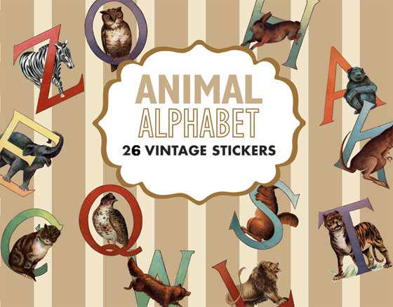 Animal Alphabet Sticker Box This box of 26 individual peel and stick labels feature a Victorian era set of delightful animal letters. Monogram letters, decorate children's rooms, personalize books, etc. with this lovely ABC set.