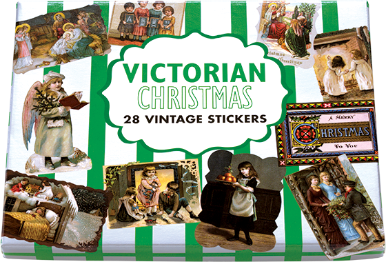 Victorian Christmas Sticker Box This box of 28 individual peel and stick Christmas labels is suitable for present labeling, package decoration and a whole host of Christmas crafts. In the Victorian era, Christmas as a commercial holiday exploded and many of the traditions we still celebrate, were originated in the Victorian age. We find their old fashioned look somehow perfect for Christmas time.