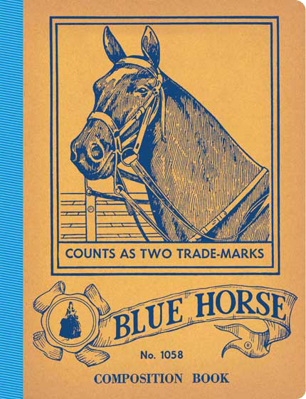 Blue Horse Vintage Notebook  This notebook contains 20 lined pages, has rounded corners and a taped spine. The cover features a horse and has a nice country feel. Our American Notebooks feature authentic imagery and will evoke memories of bygone school days. Each is a reproduction of a vintage original. We think they will remind users of a simpler, and in some ways better, world.
