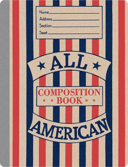 All American Vintage Notebook   This notebook contains 20 lined pages, has rounded corners and a taped spine. The cover features an all American, red, white and blue motif. Our American Notebooks feature authentic imagery and will evoke memories of bygone school days. Each is a reproduction of a vintage original. We think they will remind users of a simpler, and in some ways better, world.