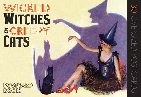 Wicked Witches & Creepy Cats Our selection of 30 witch and black cat images include the mildly frightening witch, the adorable child witch, the pretty lady witch,  one rather odd witch driving a roadster, and many very fine black cats.   Only when darkness comes does Halloween truly begin.  Night is the time for mystery, for deviltry, and for fright.  All manner of mysterious and sometimes frightening creatures emerge from the shadows, including the two featured in our {Wicked Witches and Creepy Cats: A Halloween Postcard Book.} Along with the pumpkin, the witch and her feline familiar are the most enduring symbols of All Hallows' Eve, and thus are richly represented in the many Halloween postcards that were printed  in the picture postcard's Golden Age (1890 to World War I.)
