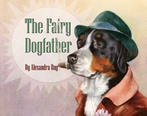 The Fairy Dogfather Alexandra Day's bestselling 'Good Dog, Carl' series features a dog who takes his family's child on various adventures, always managing to conceal this from the parents. Carl is an emblem of mischievous but responsible caretaking. Now with {The Fairy Dogfather} Alexandra Day has created another character that has a special relationship with a child, one that is outside of the parental realm.  And this dog talks!   A young boy, Hector, has trouble differentiating the letters D and G. Thus when he writes a request to the universe that he needs a fairy godfather, well, the Fairy Dogfather arrives instead. The Fairy Dogfather is a big black, white and brown dog who wears a fedora and beautiful brown jacket, smokes a cigar, and isn't at all what Hector had in mind. He uses a lot of big words, and instead of simply granting Hector's wishes, like a regular fairy godmother, he is a rather demanding visitor. It's understandable that a Fairy Dogfather would arrive hungry and need to check the weather report, but Hector needs a present for his Mom's birthday right away. It looks like his benefactor isn't going to be of much help. But in Day's capable and witty hands the Fairy Dogfather turns out to be a forceful and enigmatic figure who manages, with subtle wit, to grant all of Hector's wishes.