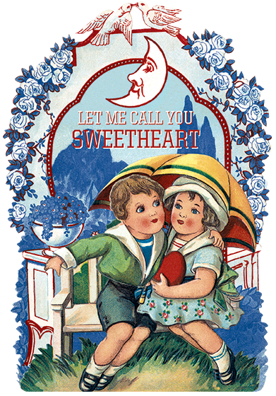 Let Me Call You Sweetheart Let me call you Sweetheart, I'm in love with you. Let me hear you whisper that you love me too...  {Let Me Call You Sweetheart} is a book-length valentine using the words of the beloved 1910 song as the text. It is illustrated on every page with a beautiful vintage valentine from the Laughing Elephant's vast treasure trove. {Let Me Call You Sweetheart} is die cut, like an over sized Valentine's day card, and is in the same format as the Laughing Elephant's popular line of die cut, shaped, books. Crafted to look like a lovingly filled out scrap book, with Victorian scraps, Valentines and the sweet words of the song hand written in old fashioned cursive, it also features an elaborate border area for personal inscription.   {Let Me Call You Sweetheart} will make a stunning Valentine's Day gift for those times when a card just isn't sufficient.