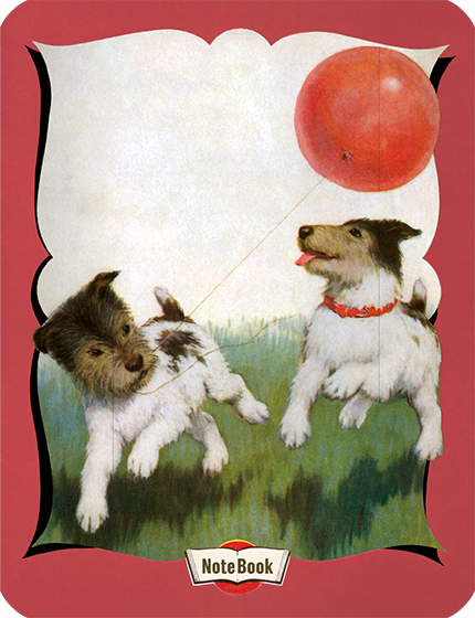 Hello Darling Notebook - Dogs Running With Balloon {Hello Darling Notebooks} are elegantly banded 20 page notebooks featuring classic illustrations from  children's picture books and other vintage sources.  For this series we have selected our most popular and beloved images of children and animals.  The notebooks feature rounded edges, lined paper, and a sewn binding.  They are blank inside.  The back covers are adorned with Useful Information such as the multiplication table and various measurement tables.   These exuberant dogs, chasing a red balloon, lend their happy faces to this notebook.
