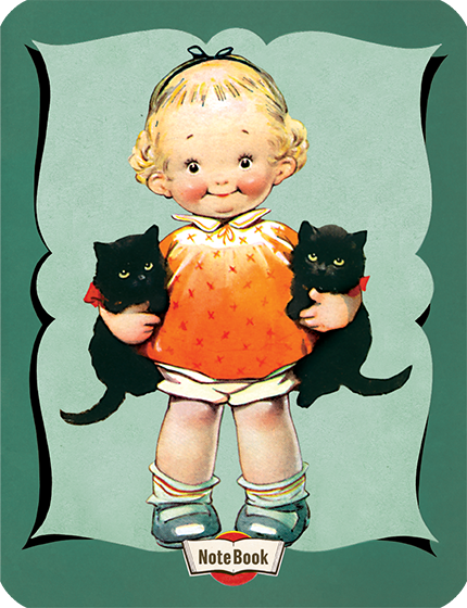 Hello Darling Notebook - Little Girl Holding Black Kittens {Hello Darling Notebooks} are elegantly banded 20 page notebooks featuring classic illustrations from  children's picture books and other vintage sources.  For this series we have selected our most popular and beloved images of children and animals.  The notebooks feature rounded edges, lined paper, and a sewn binding.  They are blank inside.  The back covers are adorned with Useful Information such as the multiplication table and various measurement tables.   A little girl with the most pleasant smile and a pair of accommodating kittens graces the cover of this notebook.