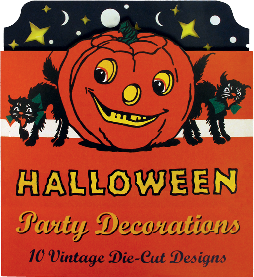 Halloween Party Decorations: 10 Vintage Die-Cut Designs Our Vintage Halloween Cardboard Cutouts, a reproduction of a glorious vintage set in our collection, features ten classic Halloween images of Halloween black cats, witches, pumpkins, scarecrows, witches and owls, and will wonderfully decorate any porch, home, classroom or etc. The die-cut set is suitable for use as a garland, and will add the perfect vintage touch to any Halloween gathering.  Each individual cutout is approximately six by six inches. Our Vintage Halloween Cardboard Cutouts come in a sturdy, attractive folder that will keep your decorations safe for reuse.
