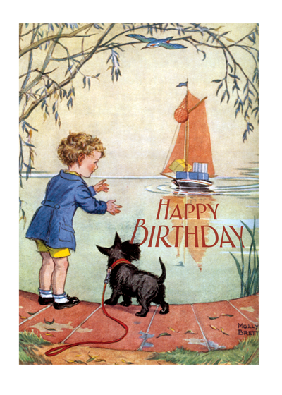 A Boy and a Scottie Dog Awaiting a Boat  Outside Greeting: Happy Birthday  Inside Greeting: May the day bring to you all the best.  This boy and his dog perfectly capture the anticipation of birthdays.  Our greeting cards are custom printed at our location in Seattle, WA. They come bagged with an envelope. We love illustration art from old children's books and early, printed ephemera. These cards reflect this interest in bringing delightful art back to life.