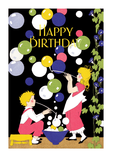 Children Blowing Bubbles  OUTSIDE GREETING: Happy Birthday  INSIDE GREETING: It's your day to play!   An adorable pair of bubble-blowing children makes the perfect greeting card.  Our greeting cards are custom printed at our location in Seattle, WA. They come bagged with an envelope. We love illustration art from old children's books and early, printed ephemera. These cards reflect this interest in bringing delightful art back to life.
