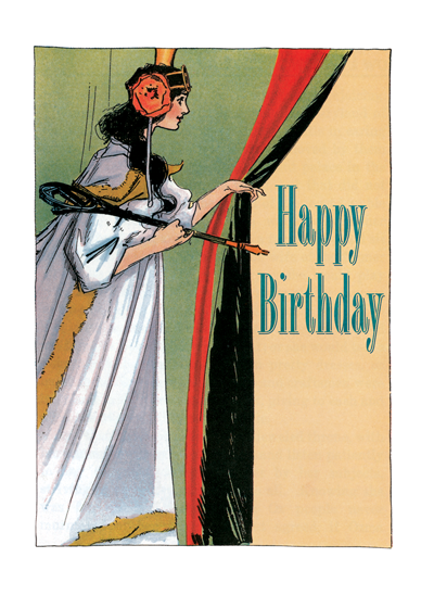 Princess Ozma The stately Princess Ozma of Oz conveys birthday wishes in this children's book illustration from John R. Neill.     Outside Greeting: Happy Birthday   Inside Greeting: Have a magical day  Our notecards are custom printed at our location in Seattle, WA. They come bagged with an envelope. We love illustration art from old children's books and early, printed ephemera. These cards reflect this interest in bringing delightful art back to life.