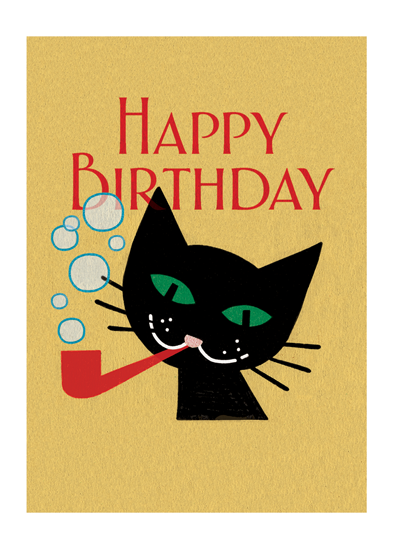 Cat With Pipe Bubble-blowing Cat.  OUTSIDE GREETING: Happy Birthday   INSIDE GREETING: You're the cat's meow  This image of a jaunty cat blowing bubbles is from a matchbook cover of the early 20th century.  Our greeting cards are custom printed at our location in Seattle, WA. They come bagged with an envelope. We love illustration art from old children's books and early, printed ephemera. These cards reflect this interest in bringing delightful art back to life.