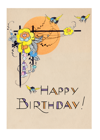 Flowers and Bees | Birthday Greeting Cards
