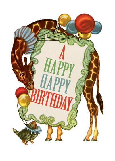 Circus Giraffe  OUTSIDE GREETING: A Happy Happy Birthday  INSIDE GREETING: Have a Dazzling, Extraordinary, Amazing Day! Birthday Greetings by A Giraffe. A jolly giraffe from the circus conveys festive circus greetings in this children's book illustration from the 1940's.  Our greeting cards are custom printed at our location in Seattle, WA. They come bagged with an envelope. We love illustration art from old children's books and early, printed ephemera. These cards reflect this interest in bringing delightful art back to life.