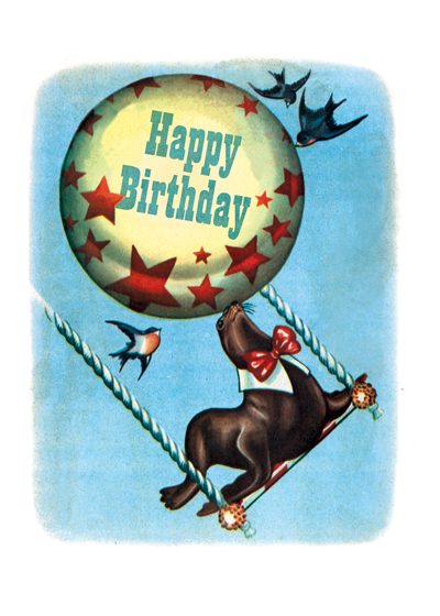 Circus Seal  OUTSIDE GREETING: Happy Birthday  INSIDE GREETING: Have a Colossal, Spectacular, Stupendous Day!   An acrobatic seal from the circus conveys festive circus greetings in this children's book illustration from the 1940's.  Our greeting cards are custom printed at our location in Seattle, WA. They come bagged with an envelope. We love illustration art from old children's books and early, printed ephemera. These cards reflect this interest in bringing delightful art back to life.