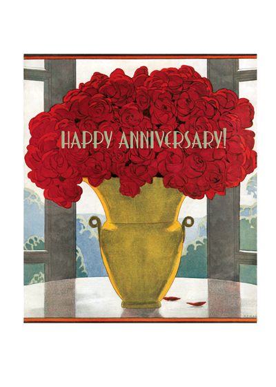 Vase of Red Roses Anniversary This straightforward and lovely vase of red roses is from Art Deco pioneer A.E. Marty.  Our greeting cards are custom printed at our location in Seattle, WA. They come bagged with an envelope. We love illustration art from old children's books and early, printed ephemera. These cards reflect this interest in bringing delightful art back to life.