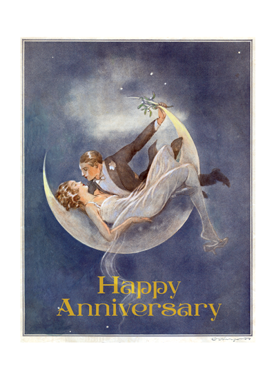 1920's Couple in Crescent Moon  OUTSIDE GREETING: Happy Anniversary  INSIDE GREETING: To a fabulous couple  American illustrator and wit  Oliver Herford - sometimes called The American Oscar Wilde - brings us this glamorous couple reclining in the moon, a perfect, romantic image for anniversary greetings.     Outside Greeting: Happy Anniversary   Inside Greeting: To a fabulous couple  Our notecards are custom printed at our location in Seattle, WA. They come bagged with an envelope. We love illustration art from old children's books and early, printed ephemera. These cards reflect this interest in bringing delightful art back to life.