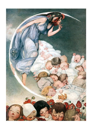 Moon Lady with Babies This lady in the moon watches over a batch of newborns in this charming image from a magazine cover.     Our blank notecards are custom printed at our location in Seattle, WA. They come bagged with an envelope. We love illustration art from old children's books and early, printed ephemera. These cards reflect this interest in bringing delightful art back to life.